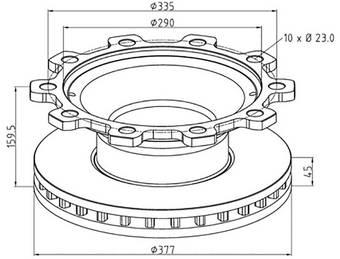 Диск тормозной BPW 377 mm (с ABS)